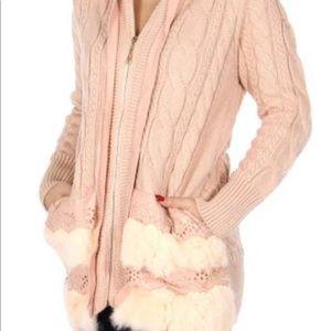 Jackets & Blazers - Faux leather trim knit hoodie.